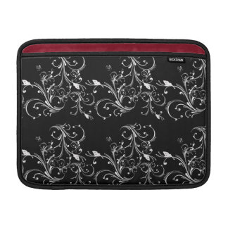 Black with White Swirls MacBook Cover Sleeves For MacBook Air