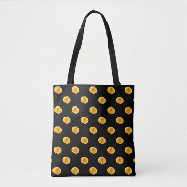 frankiesdaughter Black with Yellow Roses Tote Bag