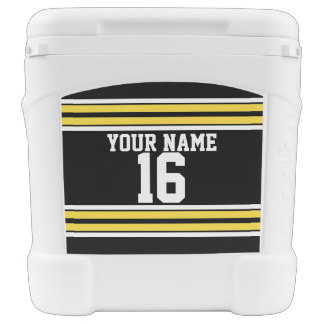 Black with Yellow White Stripes Team Jersey Cooler