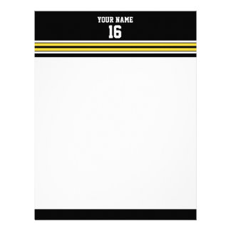 Black with Yellow White Stripes Team Jersey Letterhead