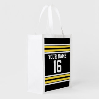 Black with Yellow White Stripes Team Jersey Market Tote