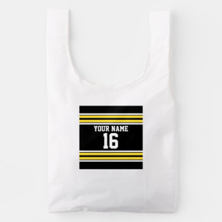 Black with Yellow White Stripes Team Jersey Reusable Bag