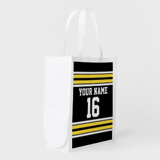 Black with Yellow White Stripes Team Jersey Reusable Grocery Bag