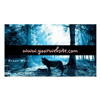 Black Wolf Alone in the Forest Business Card Templates