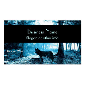 Black Wolf Alone in the Forest Business Cards