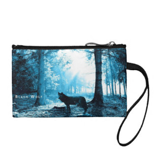 Black Wolf Alone in the Forest Change Purse