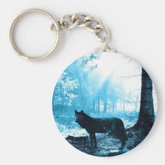 Black Wolf Alone in the Forest Keychain