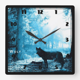 Black Wolf Alone in the Forest Square Wall Clock