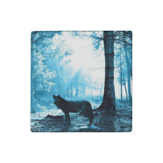 Black Wolf Alone in the Forest Stone Magnet