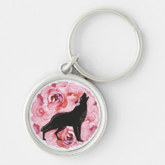 Black Wolf and Pink Roses Circle Key Chain