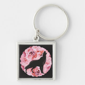 Black Wolf and Pink Roses Square Keychain