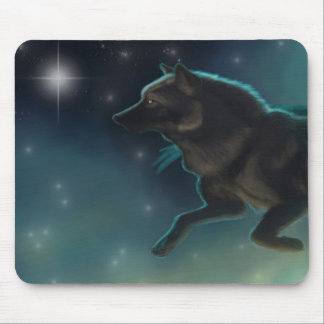 Black Wolf Flying Through The Stars Mouse Pad
