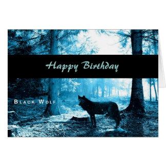 Black Wolf Happy Birthday Card