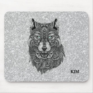 Black Wolf Head Illustration & White Glitter Mouse Pad