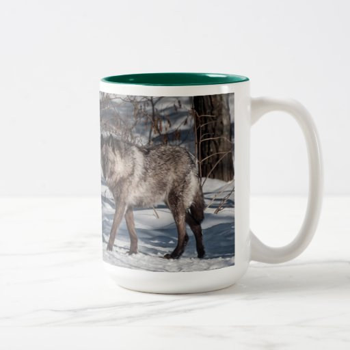 Black Wolf in Snow Mug