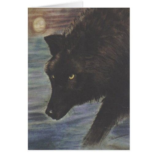 """Black Wolf in Water"" Card"