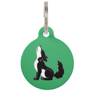 Black Wolf Pup Howling Pet ID Tag