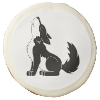 Black Wolf Pup Howling Sugar Cookie