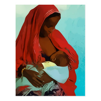 black woman breast-feeding child postcard