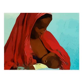 black woman breast-feeding child postcard