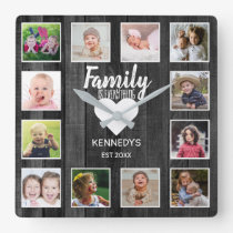 Black Wood 12 Photo Collage Family Quote Square Wall Clock