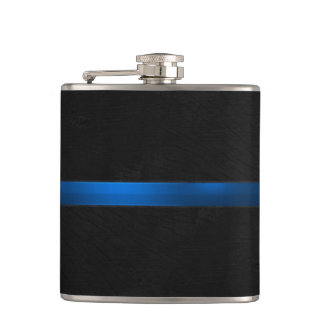 Black Wood Appearance Thin Blue Line Flask