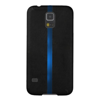 Black Wood Appearance Thin Blue Line Galaxy S5 Cover