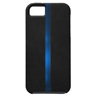 Black Wood Appearance Thin Blue Line iPhone SE/5/5s Case