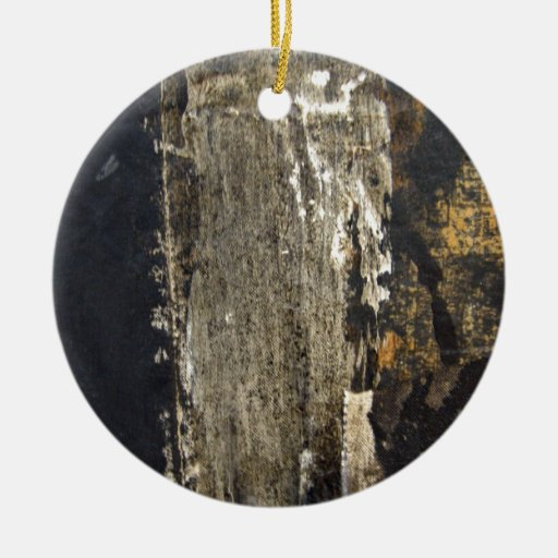 Black Wood board with scratches Christmas Tree Ornament