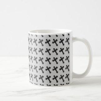 Black Wood Crosses on White Design Coffee Mug