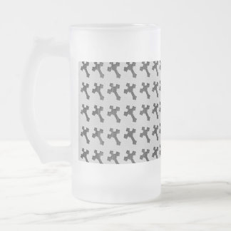 Black Wood Crosses on White Design Frosted Glass Beer Mug