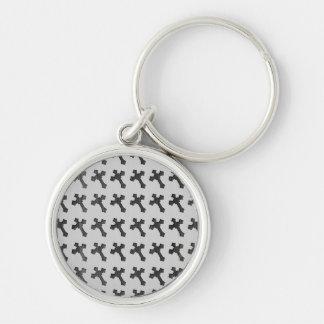 Black Wood Crosses on White Design Keychains