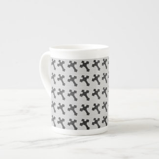 Black Wood Crosses on White Design Tea Cup