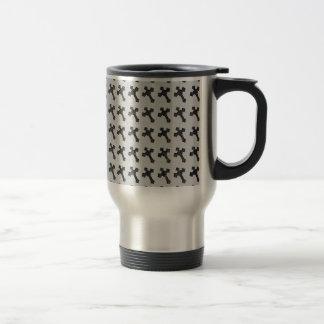 Black Wood Crosses on White Design Travel Mug