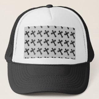 Black Wood Crosses on White Design Trucker Hat