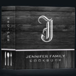 """Black Wood Family Recipes Monogram 3 Ring Binder<br><div class=""""desc"""">Black Wood Family Recipes Monogram. Please Select Customize. Remove or change Information prior to purchase. Design is available on other products.</div>"""