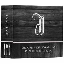 Black Wood Family Recipes Monogram 3 Ring Binder