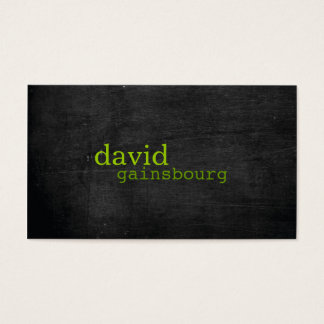 Black Wood Green Typography Business Card