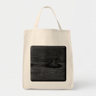 Black Wood Image. Canvas Bags