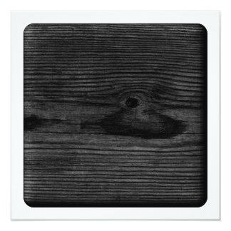 Black Wood Image. 5.25x5.25 Square Paper Invitation Card