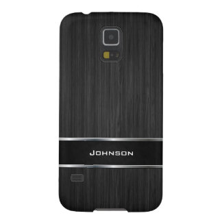 Black Wood Look with Silver Metal Leather Label | Galaxy S5 Case