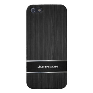 Black Wood Look with Silver Metal Leather Label | iPhone SE/5/5s Case