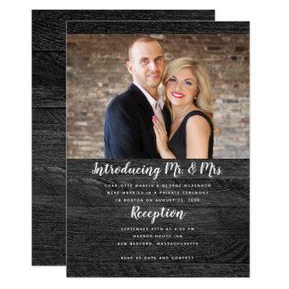 Black Wood Newlyweds Photo Announcement