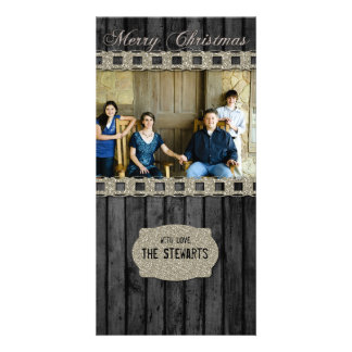Black Wood Silver Country Photo Christmas Card