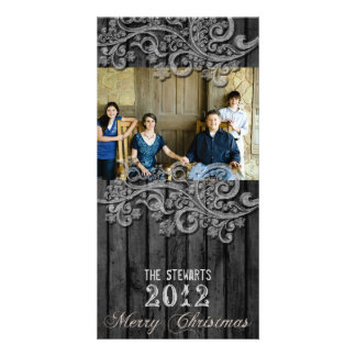 Black Wood Silver Country Photo Christmas Card Photo Greeting Card