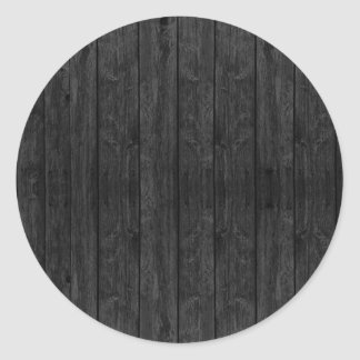 Black Wood Wall Texture Structure Classic Round Sticker