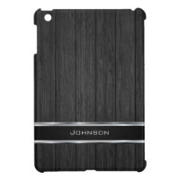 Black Wood with Silver Metal Leather Label | Case For The iPad Mini