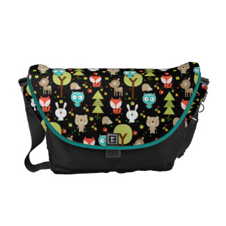 Black Woodland Friends Diaper Bag Messenger Bag