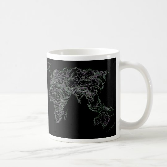 Black world atlas coffee mug
