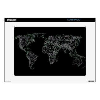 """Black world atlas skin for 15"""" laptop"""